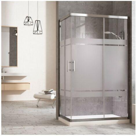 Cabine de douche rectangulaire à fermeture angulaire. 2 portes coulissantes et 2 panneaux fixes. Verre sérigraphie