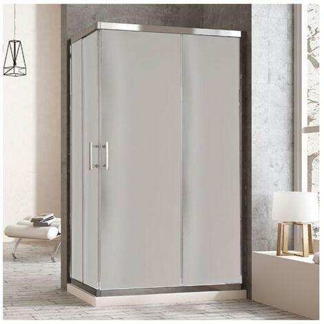 Cabine de douche rectangulaire à fermeture angulaire. 2 portes coulissantes et 2 panneaux fixes. Verre translucide