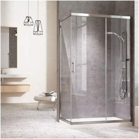 Cabine de douche rectangulaire avec un côté fixe et une porte coulissante frontale et un panneau fixe. réversible Verre transparent