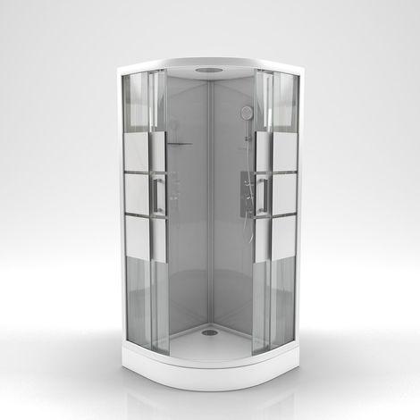Cabine de douche ronde à bandes laquées blanches Gris