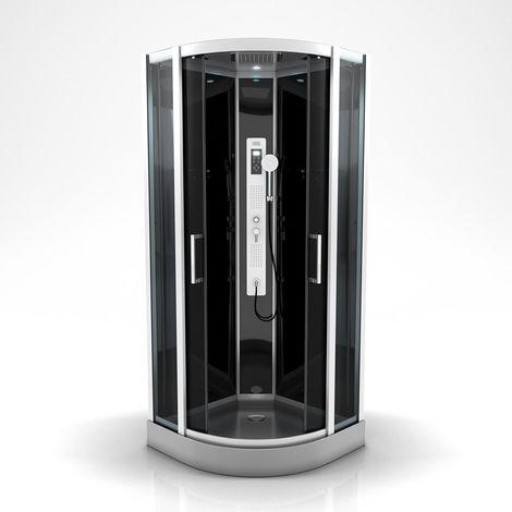 Cabine de douche ronde à multi jets Gris