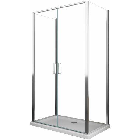 Cabine de douche Saloon de 6 millimètres trois faces H.190 avec deux murs fixes et une porte vantail type saloon