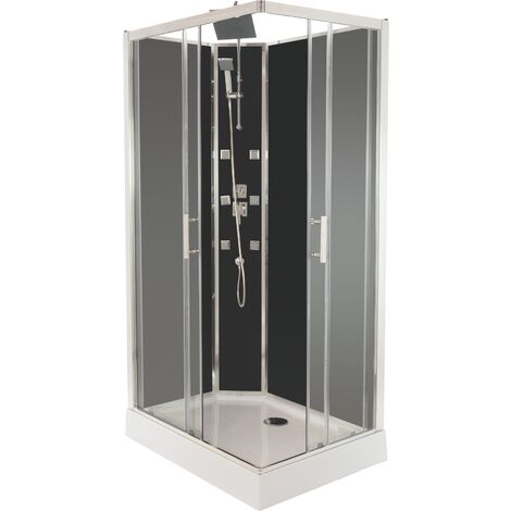 Cabine de douche SELIA 110x80 noire Hydromassante
