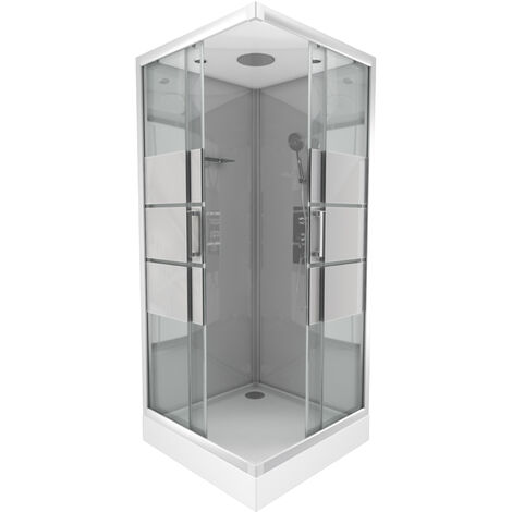 Cabine de douche carrée 90x90x215cm - grise avec bande dépoli - SILVERY STRIPE SQUARE