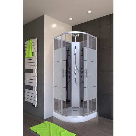 cabine de douche simply stripe 1 4 de cercle cab137. Black Bedroom Furniture Sets. Home Design Ideas