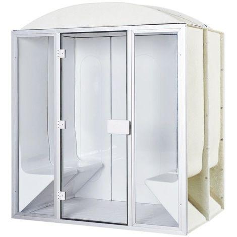 Cabine de hammam 4 places complète 190 x 130 x 225 cm en acrylique + porte et vitres pret à monter desineo