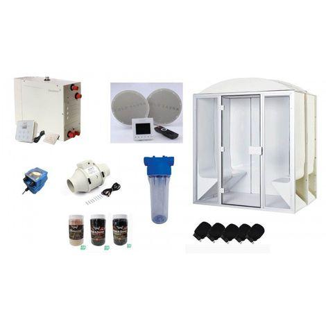 Cabine de hammam PRO 4 places complète 190 x 130 x 225 cm en acrylique + porte et vitres pret à monter desineo
