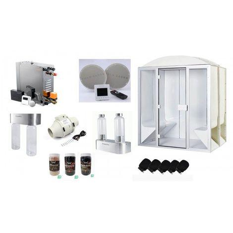 Cabine de hammam PRO 6 places PREMIUM complète 190 x 190 x 225 cm en acrylique + porte et vitres Desineo