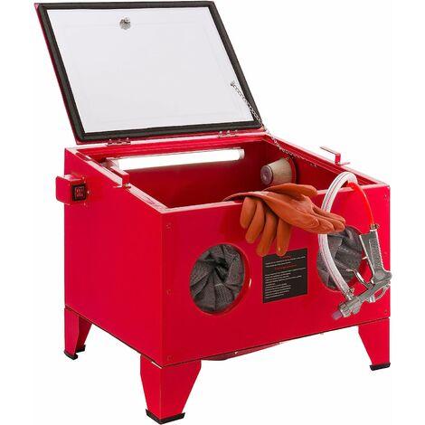 Cabine de sablage Sableuse Installation de grenaillage au sable 90 l - rouge