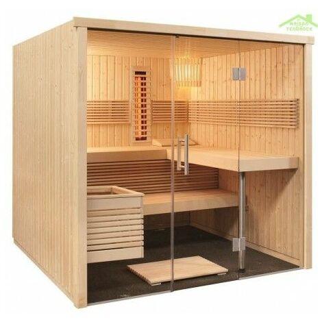 Cabine de Sauna infrarouge PANORAMA LARGE INFRA+ SENTIOTEC 214x210cm