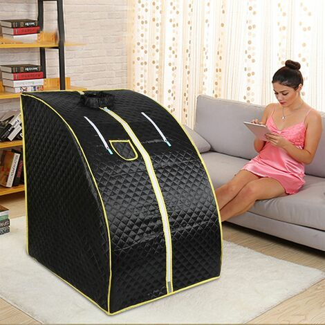 Cabine de Sauna Vapeur Sauna Maison Portable Mobile Hammam et Sauna 1000W - Noir