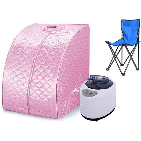 Cabine de sauna vapeur Sauna Maison Portable Mobile Hammam et Sauna (Rose)