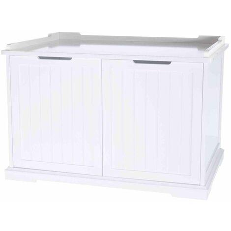 Cabine de toilette XL, en mdf - 75 × 51 × 53 cm, blanc