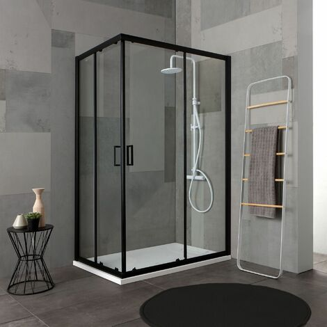 CABINE DOUCHE 80X100 H 190 PROFILE NOIR OPAQUE CRISTAL TRANSPARENT CITY