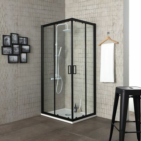 CABINE DOUCHE 90X90 PROFILE NOIR OPAQUE CRISTAL 6MM TRANSPARENT CITY