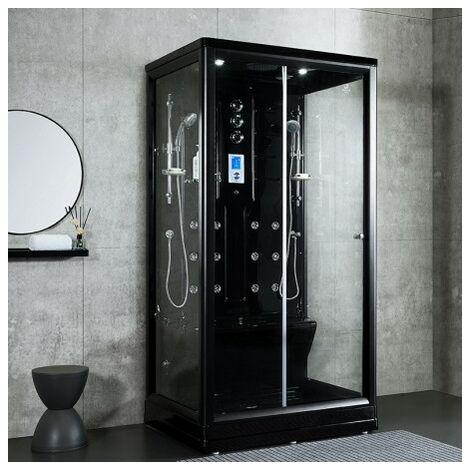 Cabine douche hammam Boreal® H-DUO Black Edition 112,5 x 90,5 x 220H cm