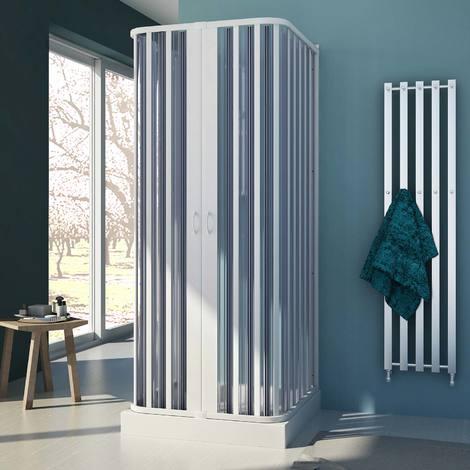 Cabine douche trois côté en Plastique pvc mod. Nova avec l'ouverture centrale