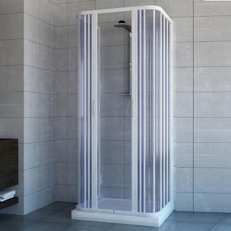 Cabine Paroi de douche 3 côtés en Plastique PVC mod. Ariete avec ouverture centrale
