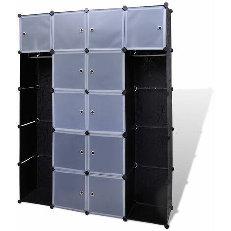 Cabinet modulable avec 14 compartiments noir et blanc 37x146x180,5 cm