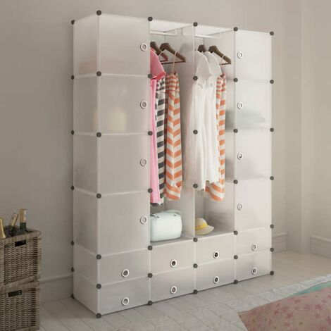 Cabinet modulable avec 18 compartiments blanc 37x146x180,5 cm