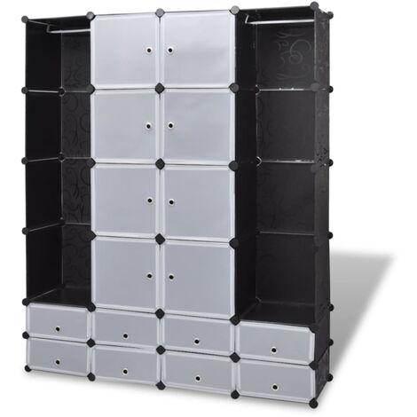 Cabinet modulable avec 18 compartiments noir et blanc 37x146x180,5 cm