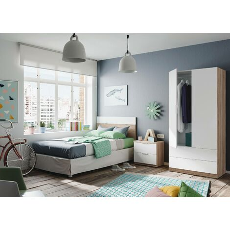 Cabinet with two doors and two drawers in the lower part, oak colour with arctic white doors, cm 81.5 x 180 x 52.