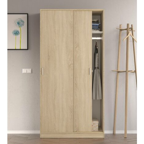 Cabinet with two sliding doors with clothes rail and one internal shelf, oak colour, 200 x 100 x 50 cm