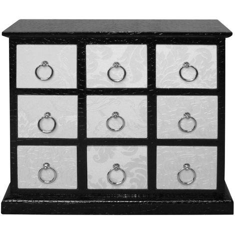 Cabinet,9 drawer/metal handles,ivory flock/black leather effect