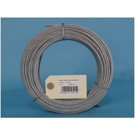 Cable acero galv 6x7+1 5mm cursol 15 mt