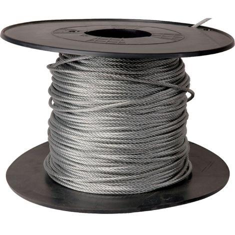 Câble acier galvanisé Levac - Ame métallique - Bobine de 100 m - Diamètre 4 mm