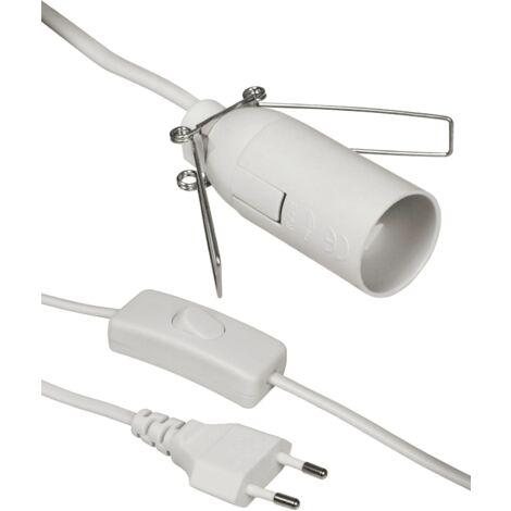 Cable alimentacion portalamparas E14 con interruptor 1.5 M Blanco
