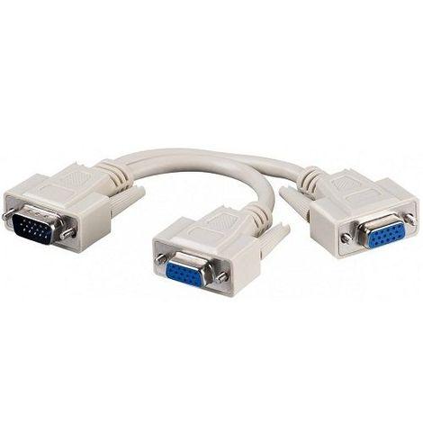 Cable Bifurcador SVGA HDB15/M-2x HDB15/H 0.25 M Gris