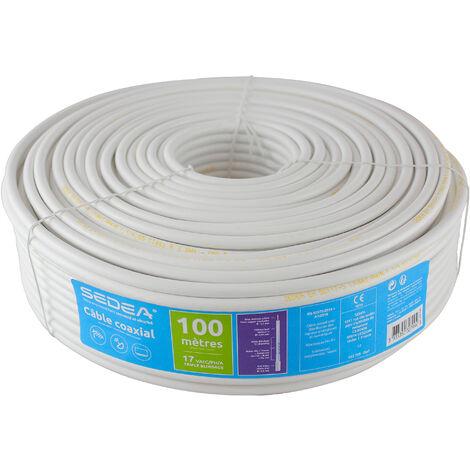 Câble coaxial 17 VAtCA/PH/A Triple Blindage en couronne de 100 mètres - blanc - SEDEA - 032799