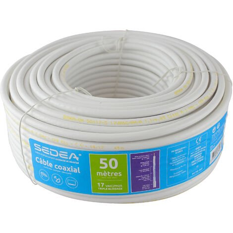 Câble coaxial 17 VAtCA/PH/A Triple Blindage en couronne de 50 mètres - blanc - SEDEA - 032750