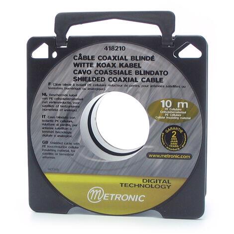 Cable coaxial blanco en bobina 10mts, gris