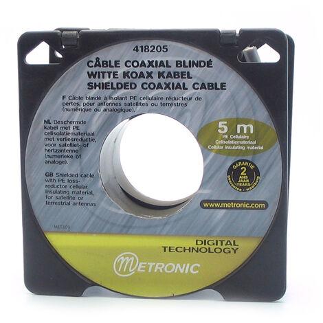 Cable coaxial blanco en bobina 5mts, gris