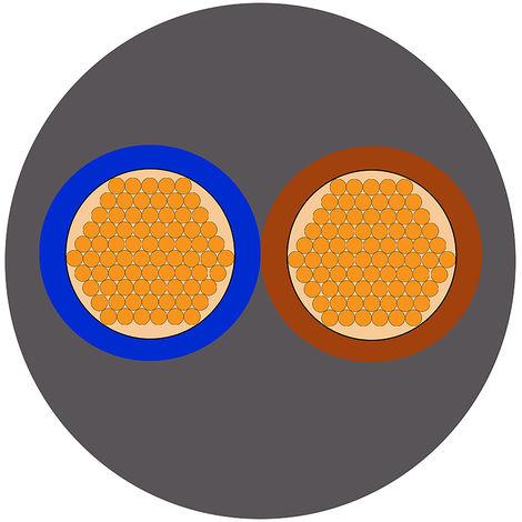 Câble d'alimentation RS PRO 2 x 1 mm², Gaine Chlorure de polyvinyle PVC Gris, 17 AWG, C 100m