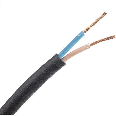 Câble d'alimentation RS PRO 2 x 1,5 mm², Ignifuge, Gaine CPE Noir, 15 AWG, C 50m