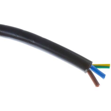 Câble d'alimentation RS PRO 3 x 1,25 mm², Gaine Chlorure de polyvinyle PVC Noir, 16 AWG, C 100m