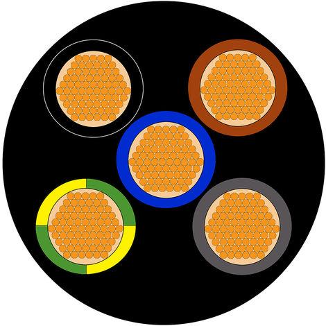 Câble d'alimentation RS PRO 5 x 2,5 mm², Ignifuge, Gaine CPE Noir, 13 AWG, C 100m