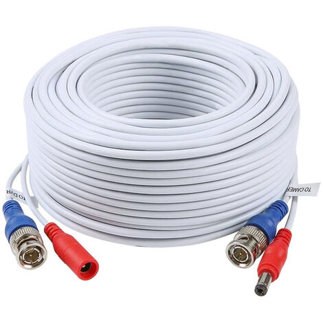 Cable de CCTV de alimentacion de video 2 en 1 de 100 pies / 30 m Cable de extension BNC, para camaras de vigilancia de seguridad para el hogar Sistema DVR