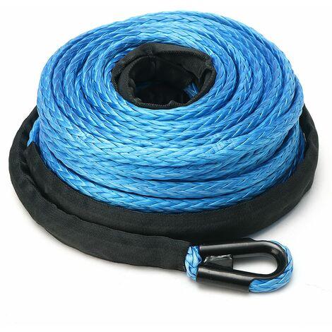 Cable de corde de treuil bleu 10 mm x 30 m synthétique + récupération de chaumard en aluminium argenté 1 ensemble