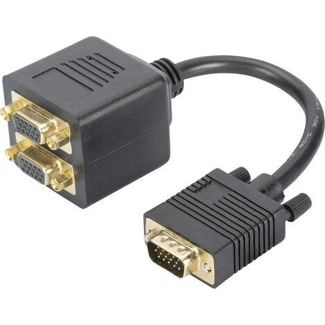 Câble de raccordement TV, écran, ordinateur, ordinateur portable [1x SUB-D mâle 15 pôles - 2x SUB-D femelle 15 pôles] Digitus DB-310400-002-S VGA 0.2 m noir 1