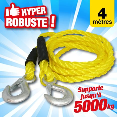 Cable de remorquage 18mm - capacité 5 tonnes - 4 mètres de long