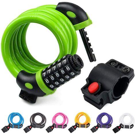 Câble de Verrouillage de vélo 4 Pieds Haute sécurité 5 Chiffres réinitialisable à Combinaison Enroulable pour vélo en Plein air, 1,2 m x 12 mm