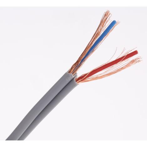 Câble d'instrumentation RS PRO 2 conducteurs, 0,88 mm² Blindé, diamètre 9,4mm Paire torsadée Ignifuge