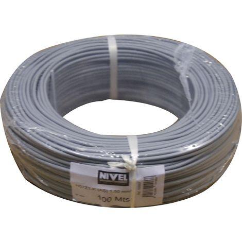 Cable Electricidad 1,5Mm Hilo Flexible Nivel Cobre Gris Libre Halogeno