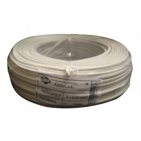 Cable Electricidad 2X0,50Mm Manguera Nivel Blanco Plano Mp2005 100 Mt