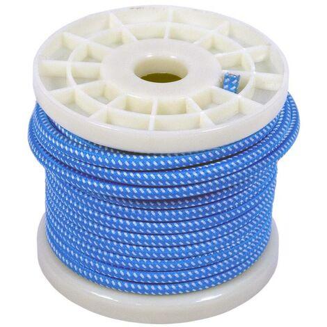 Cable eléctrico decorativo textil 2X0,75 blanco y azul