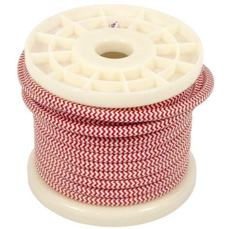 Cable eléctrico decorativo textil 2X0,75 zigzag blanco y rojo